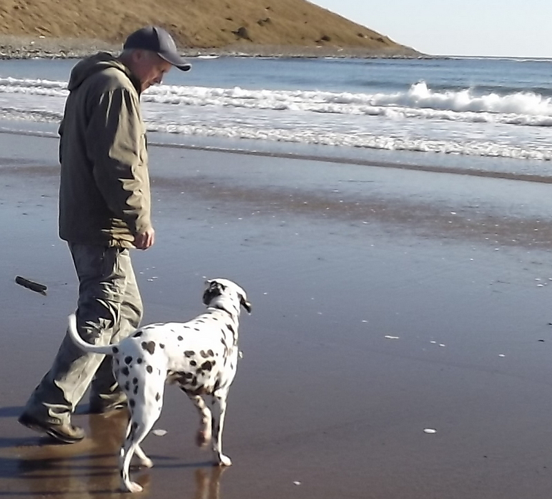 dg and Lucy at Lawrencetown Beach in Nova Scotia
