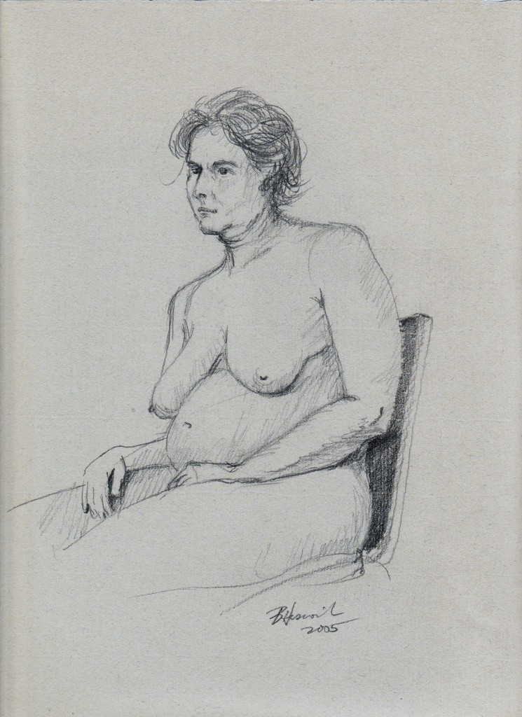 seated nude three quarter view
