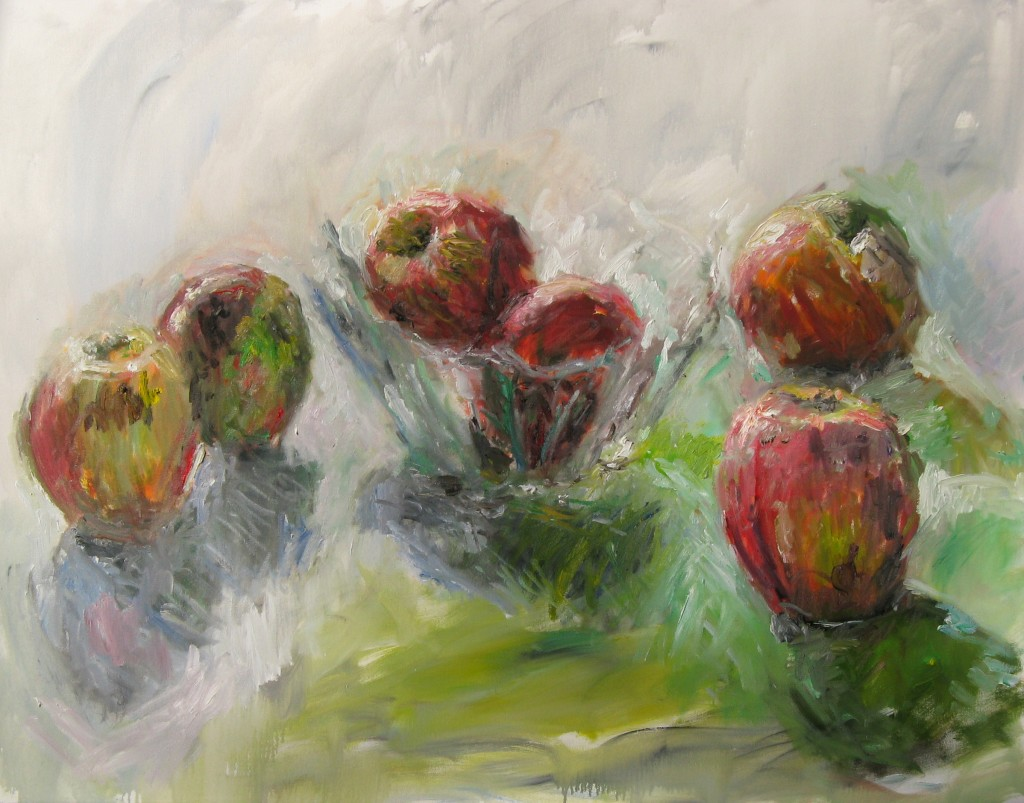 Apples in Glass Bowl, 2008,  oil on canvas, 43 x 56 in., private collection