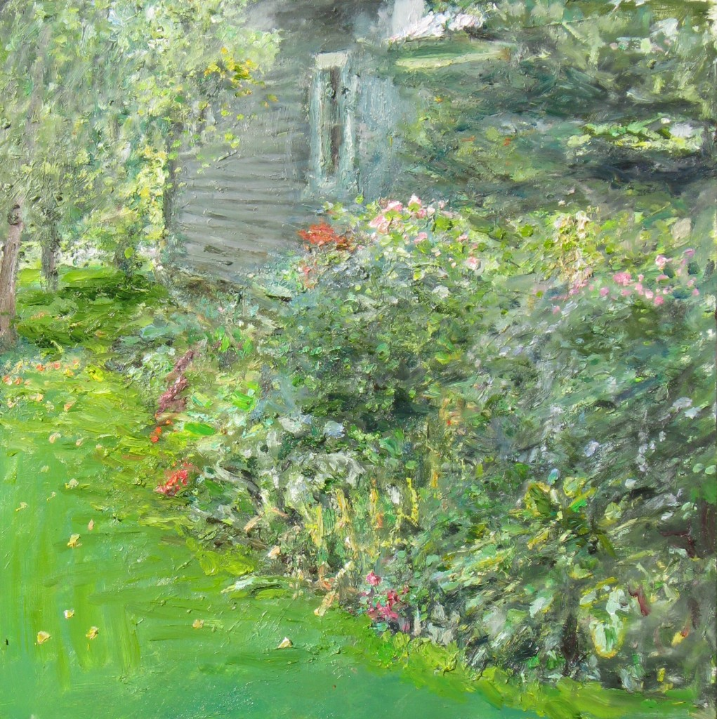 L & A's Garden with Neighbour's House, 2010, oil on board, 24 x 24 in, private collection.