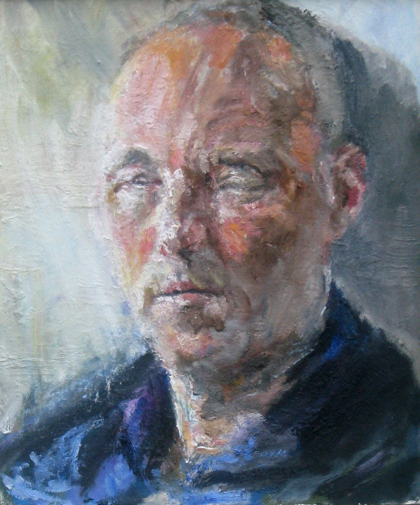 Self Portrait as a Dead Man, 2011, oil on board, 16 x 13.5 in., collection of the artist