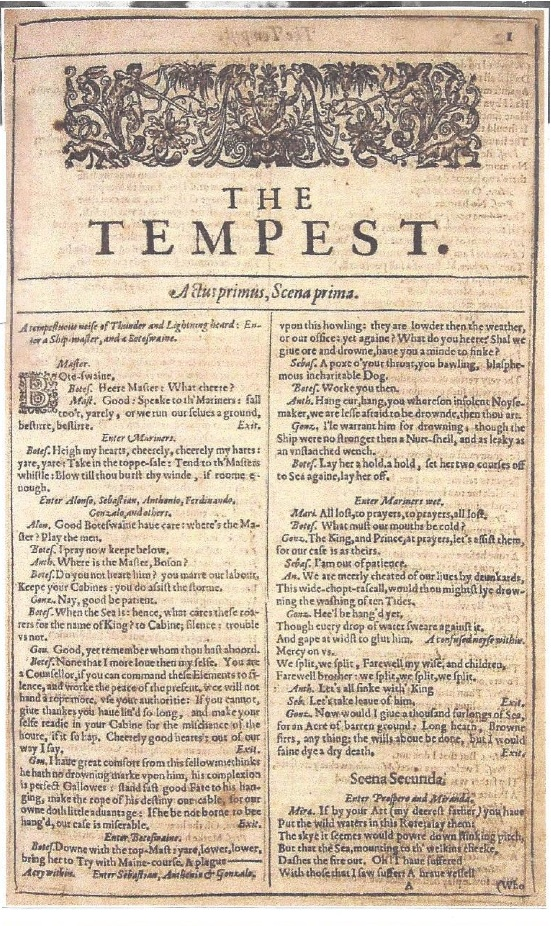 "Title page of ""The Tempest,"" the first play in the ""First Folio,"" 1623"