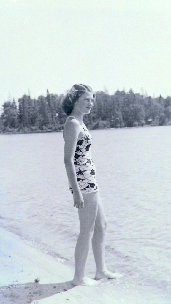 Jean at beach from negative