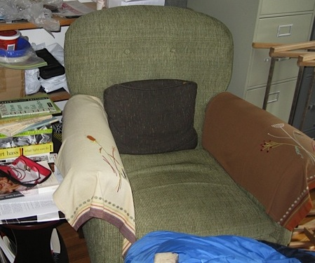 Roo Borson and Kim Maltman's chair in their office