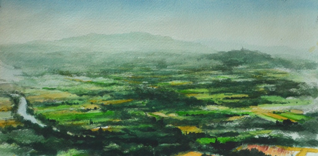 View from Monte Castello di Vibio, 6x11, watercolor, 2014