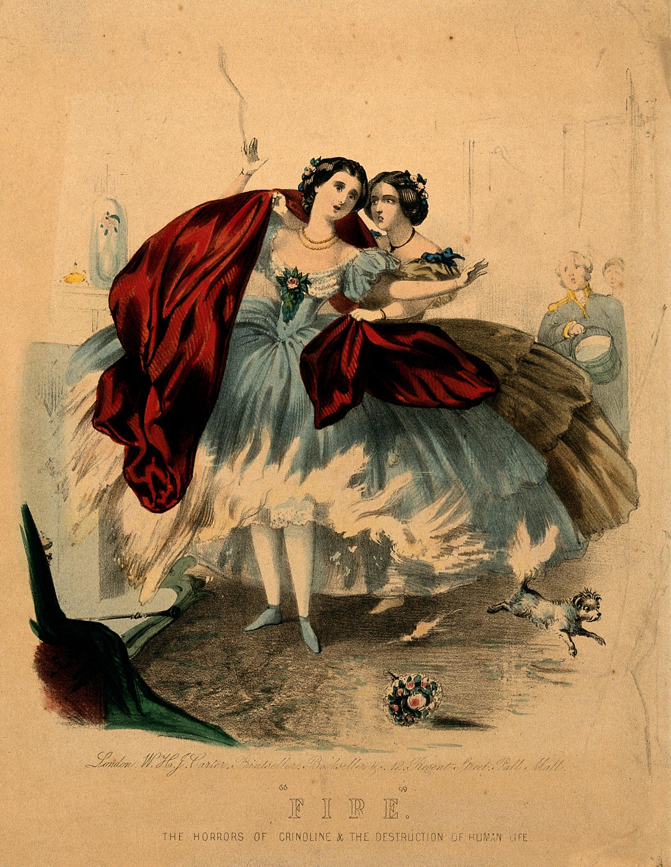 Women wearing crinolines set on fire, ca. 1860