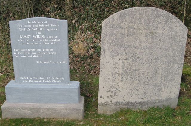 Emily & Mary - half sisters of Oscar Wile. Original stone on right.